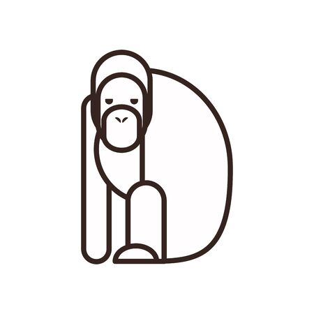 Cute orangutan cartoon line style icon design, Animal zoo life nature character childhood and adorable theme Vector illustration Illustration