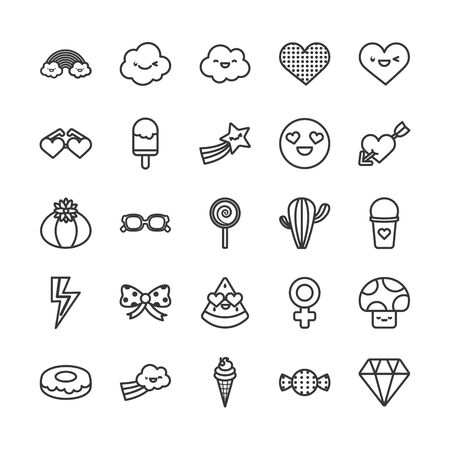 cute elements line style icon set design, expression character funny emoticon and childhood theme Vector illustration Illustration