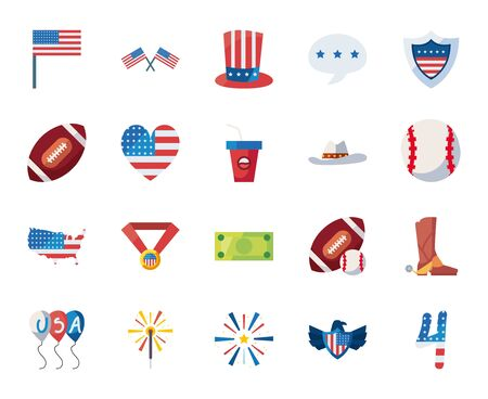 Usa fill style icon set design, United states america independence day nation us country and national theme Vector illustration