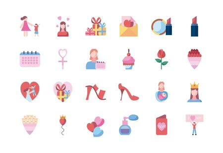 fill style icon set design, happy mothers day love relationship decoration celebration greeting and invitation theme Vector illustration Ilustración de vector