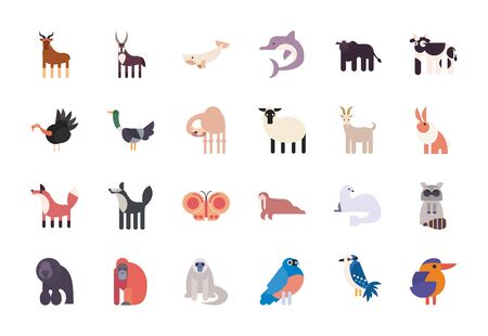 Cute animals cartoons fill style icon set design, zoo life nature character childhood and adorable theme Vector illustration