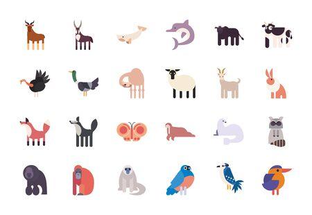 Les dessins animés d'animaux mignons remplissent la conception de jeu d'icônes de style, l'enfance de caractère de nature de vie de zoo et le thème adorable Illustration vectorielle