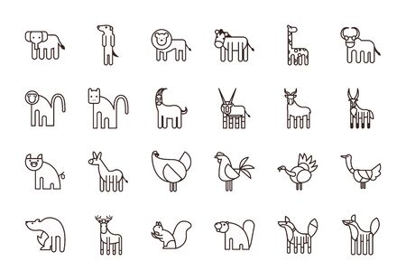 Cute animals cartoons line style icon set design, zoo life nature character childhood and adorable theme Vector illustration Illustration