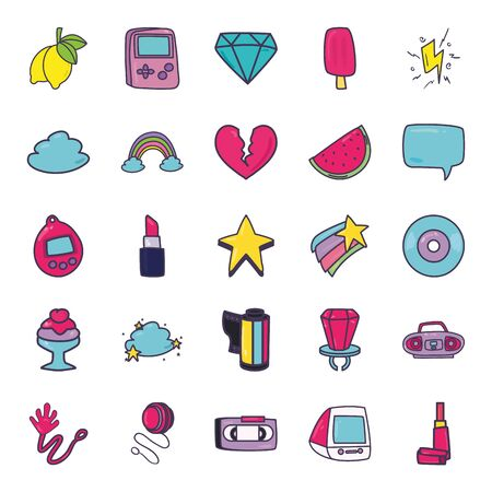 line and fill style icon set design, 90s retro leisure technology entertainment obsession digital and lifestyle theme Vector illustration Illustration