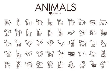 50 cute animals cartoons line style icon set design, zoo life nature character childhood and adorable theme Vector illustration