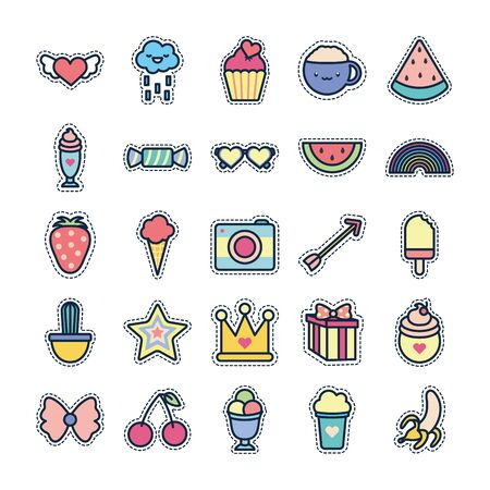 cute elements line fill style icon set design, Kawaii expression character funny emoticon and childhood theme Vector illustration Illustration