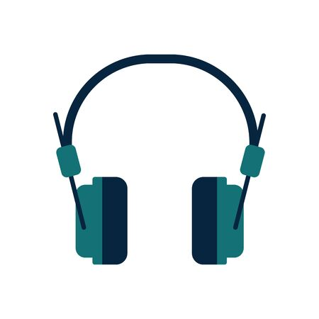 headphones flat style icon design, Music sound melody song musical art and composition theme Vector illustration