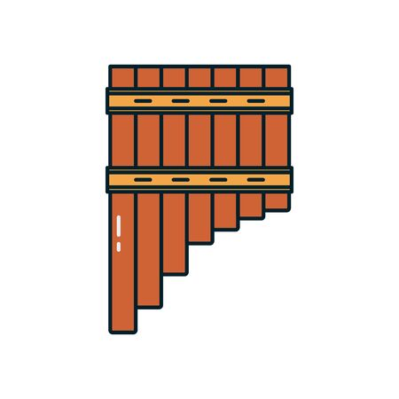 pan flute instrument line and fill style icon design, Music sound melody song musical art and composition theme Vector illustration Vektoros illusztráció
