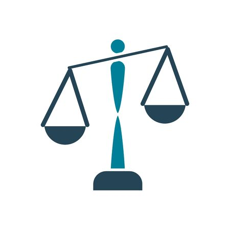 Law scale silhouette style icon design, Justice legal judgment judical authority freedom veridict attorney and crime theme Vector illustration