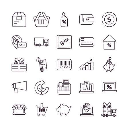Shopping line style icon set design of Commerce market store shop retail buy paying banking and consumerism theme Vector illustration Vektorgrafik