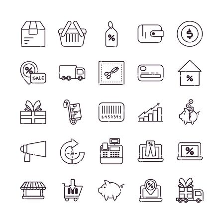Shopping line style icon set design of Commerce market store shop retail buy paying banking and consumerism theme Vector illustration Vecteurs