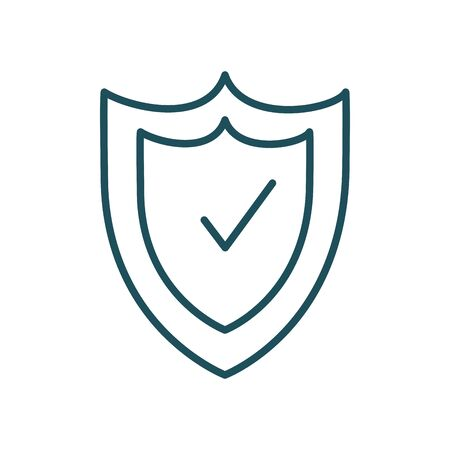 shield with check mark line style icon design of Security system warning protection danger web alert and safe theme Vector illustration
