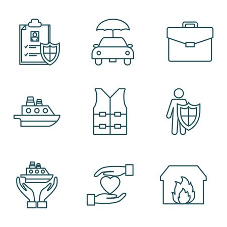 line style icon set design, Insurance health care security protection life accident and guard theme Vector illustration