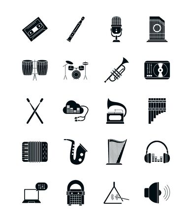 silhouette style icon set design, Music sound melody song musical art and composition theme Vector illustration