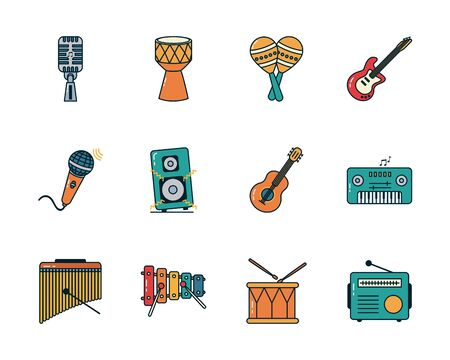 line and fill style icon set design, Music sound melody song musical art and composition theme Vector illustration