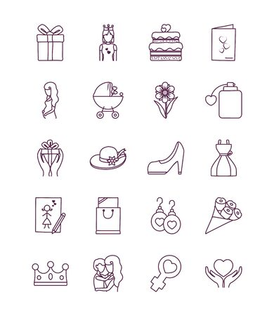 line style icon set design, happy mothers day love relationship decoration celebration greeting and invitation theme Vector illustration Vectores
