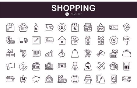 Shopping line style icon set design of Commerce market store shop retail buy paying banking and consumerism theme Vector illustration