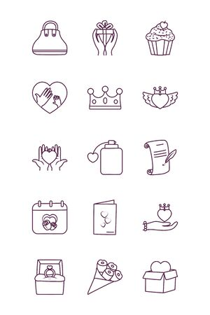 line style icon set design, love relationship decoration celebration greeting and invitation theme Vector illustration