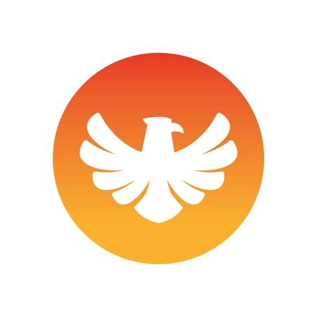 Eagle bird silhouette block style icon design, animal feather predator wildlife flight beak natural and tattoo theme Vector illustration
