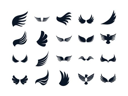 Wings and eagles silhouette style icon set design, animal feather bird angel wildlife flight freedom and tattoo theme Vector illustration