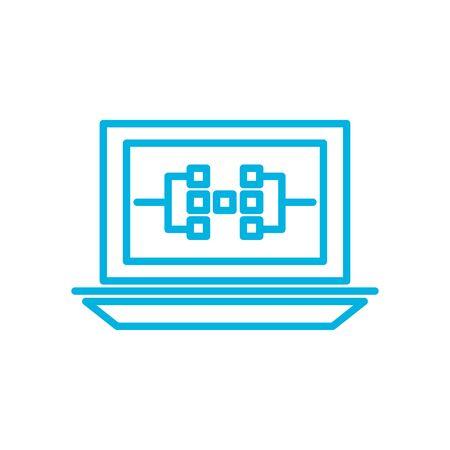 circuit inside laptop line style icon design, futuristic virtual technology modern innovation digital entertainment tech and simulation theme Vector illustration