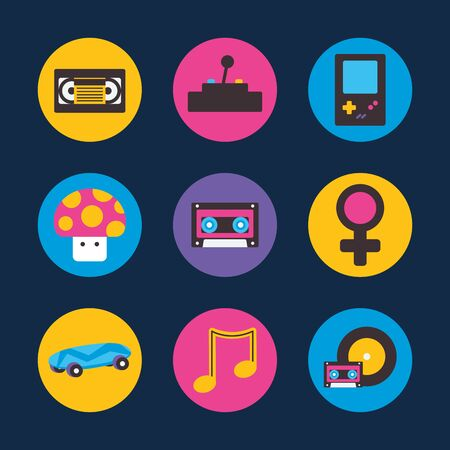 flat block style icon set design, retro leisure technology entertainment obsession digital and lifestyle theme Vector illustration Vettoriali