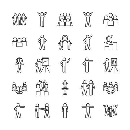 Avatars line style icon set design of Person profile social communication human user partnership member and figure theme Vector illustration