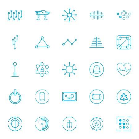 line style icon set design, futuristic virtual technology modern innovation digital entertainment tech and simulation theme Vector illustration