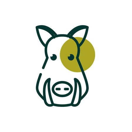 Pig half line half color style icon design, Biodiversity life natural nature and adorable theme Vector illustration Illustration