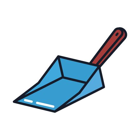 picker line and fill style icon design, Cleaning service wash home hygiene equipment domestic interior housework and housekeeping theme Vector illustration Vectores