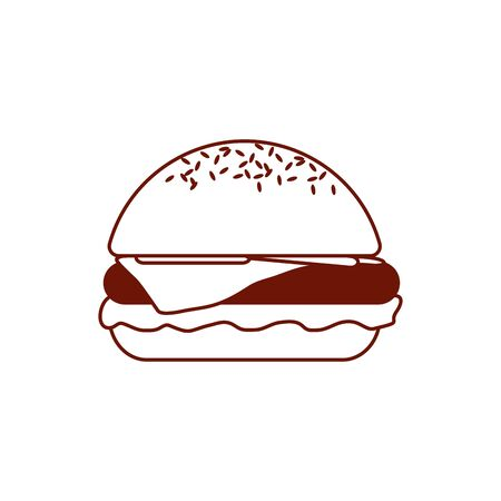 Hamburger line style icon design, Eat fast food restaurant menu dinner lunch cooking and meal theme Vector illustration