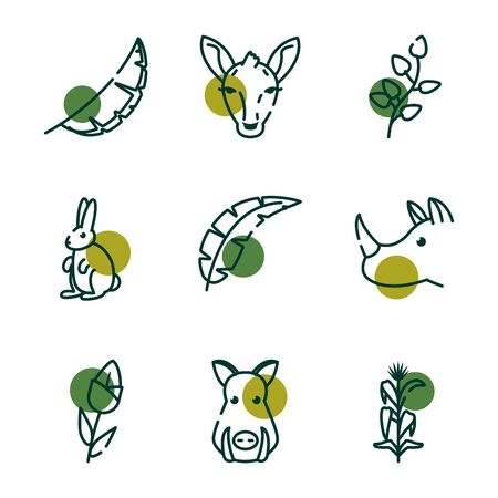 Half line half color style icon set design, Biodiversity animals life natural nature and adorable theme Vector illustration
