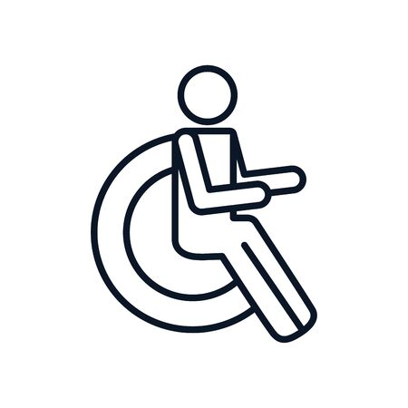 Disabled people symbol line style icon design, Disability health care assistance accessibility treatment medical and help theme Vector illustration