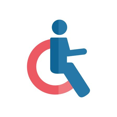 Disabled people symbol flat style icon design, Disability health care assistance accessibility treatment medical and help theme Vector illustration 일러스트