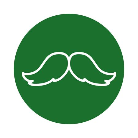 Male mustache block style icon design, Hair gentleman man style face retro facial beard and fashion theme Vector illustration