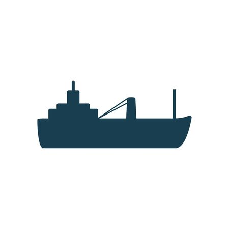 ship silhouette style icon design, Oil industry Gas energy fuel technology power industrial production and petroleum theme Vector illustration