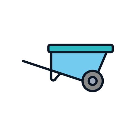 wheelbarrow tool line fill style icon design, agronomy farm lifestyle agriculture harvest rural farming and country theme Vector illustration  イラスト・ベクター素材