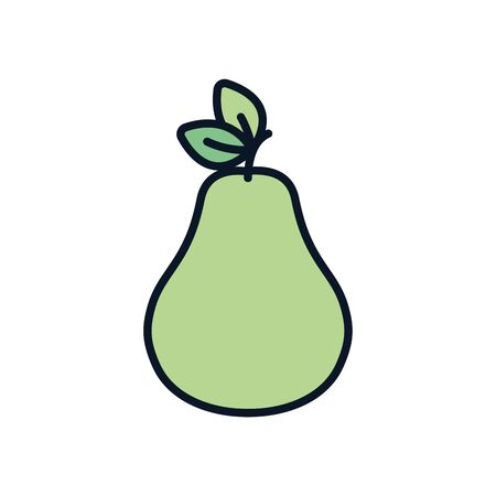 pear line fill style icon design, Fruit healthy organic food sweet and nature theme Vector illustration