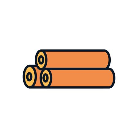 hay rolls line fill style icon design, agronomy farm lifestyle agriculture harvest rural farming and country theme Vector illustration