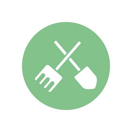 shovel and rake tool silhouette block style icon design, agronomy farm lifestyle agriculture harvest rural farming and country theme Vector illustration