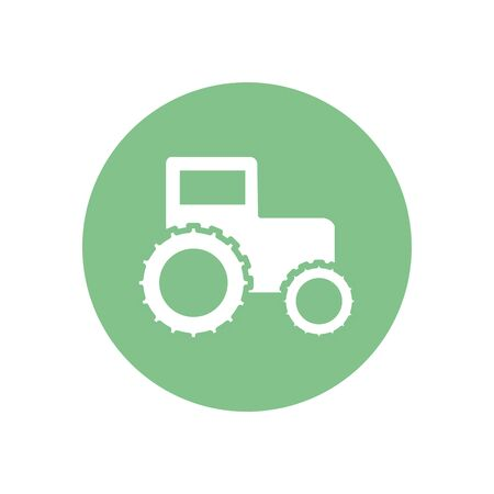 Tractor silhouette block style icon design, agronomy farm lifestyle agriculture harvest rural farming and country theme Vector illustration