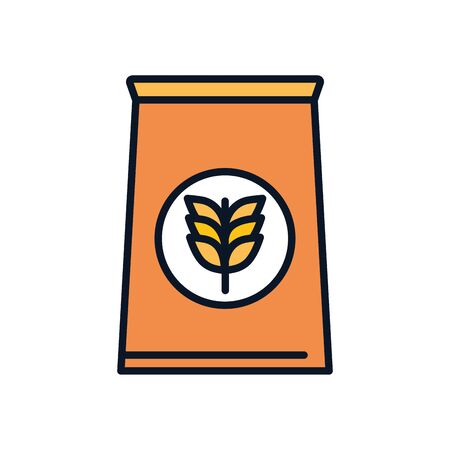 wheat ear bag line fill style icon design, agronomy farm lifestyle agriculture harvest rural farming and country theme Vector illustration