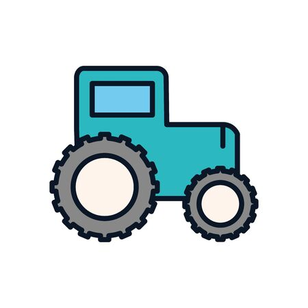 Tractor line fill style icon design, agronomy farm lifestyle agriculture harvest rural farming and country theme Vector illustration