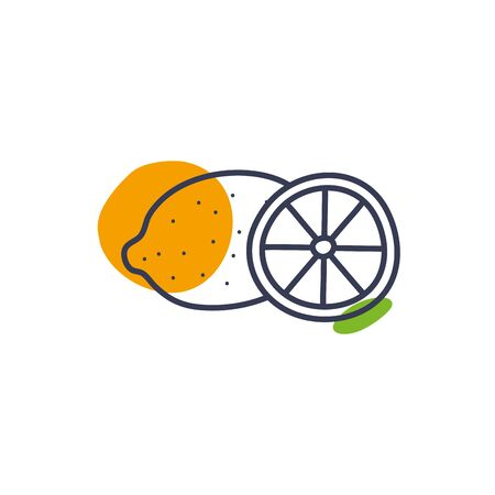lemon line color style icon design, Fruit healthy organic food sweet and nature theme Vector illustration  イラスト・ベクター素材