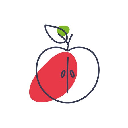 apple line color style icon design, Fruit healthy organic food sweet and nature theme Vector illustration