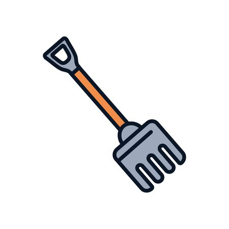 rake tool line fill style icon design, agronomy farm lifestyle agriculture harvest rural farming and country theme Vector illustration  イラスト・ベクター素材