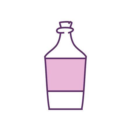 bottle line fill style icon design, Alcohol drink bar beverage liquid menu surprise restaurant and celebration theme Vector illustration