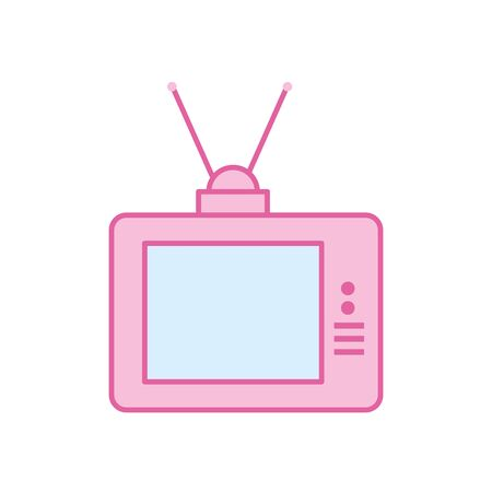 retro tv neon line and fill style icon design, Television device gadget technology electronic video screen display and home theme Vector illustration