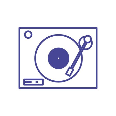 Retro turntable line style icon design, Music sound melody song musical art and composition theme Vector illustration Иллюстрация