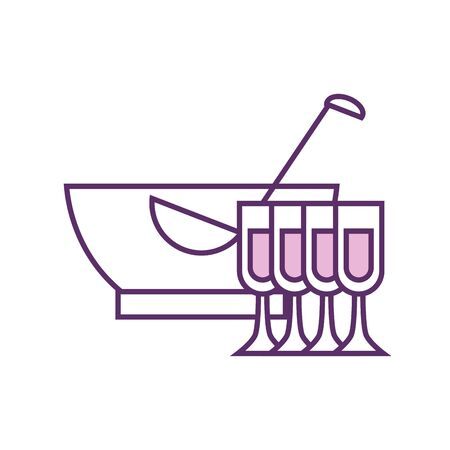 punch bowl and cups line fill style icon design, Alcohol drink bar beverage liquid menu surprise restaurant and celebration theme Vector illustration 版權商用圖片 - 142082893
